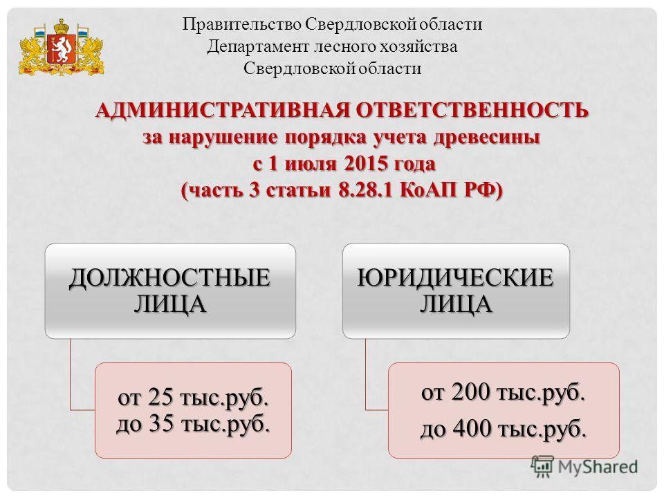 Правительство Свердловской области Департамент лесного хозяйства Свердловской области АДМИНИСТРАТИВНАЯ ОТВЕТСТВЕННОСТЬ за нарушение порядка учета древесины с 1 июля 2015 года с 1 июля 2015 года (часть 3 статьи 8.28.1 КоАП РФ) ДОЛЖНОСТНЫЕ ЛИЦА от 25 т