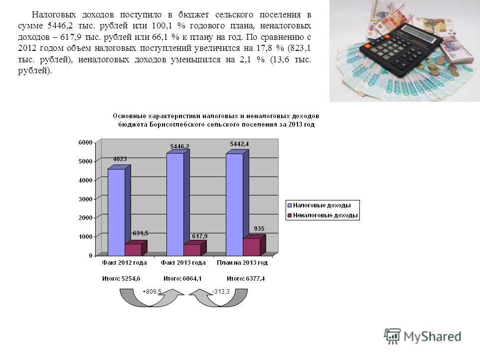 Налоговых доходов поступило в бюджет сельского поселения в сумме 5446,2 тыс. рублей или 100,1 % годового плана, неналоговых доходов – 617,9 тыс. рублей или 66,1 % к плану на год. По сравнению с 2012 годом объем налоговых поступлений увеличился на 17,