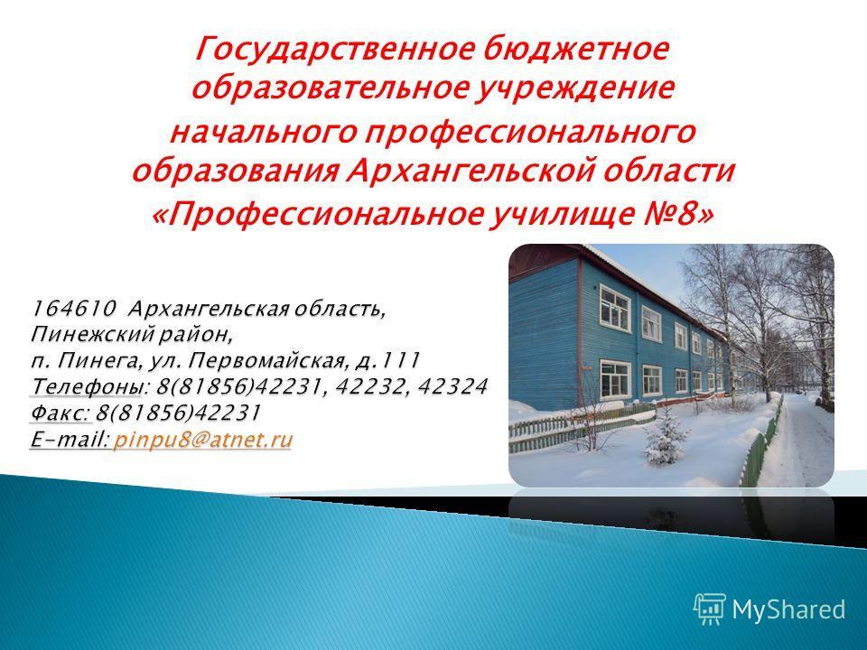 Государственное бюджетное образовательное учреждение начального профессионального образования Архангельской области «Профессиональное училище 8»