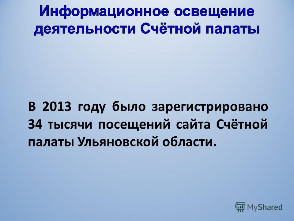 В 2013 году было зарегистрировано 34 тысячи посещений сайта Счётной палаты Ульяновской области. 23