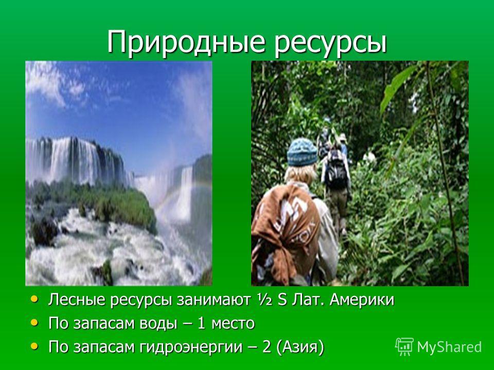 Природные ресурсы Лесные ресурсы занимают ½ S Лат. Америки Лесные ресурсы занимают ½ S Лат. Америки По запасам воды – 1 место По запасам воды – 1 место По запасам гидроэнергии – 2 (Азия) По запасам гидроэнергии – 2 (Азия)