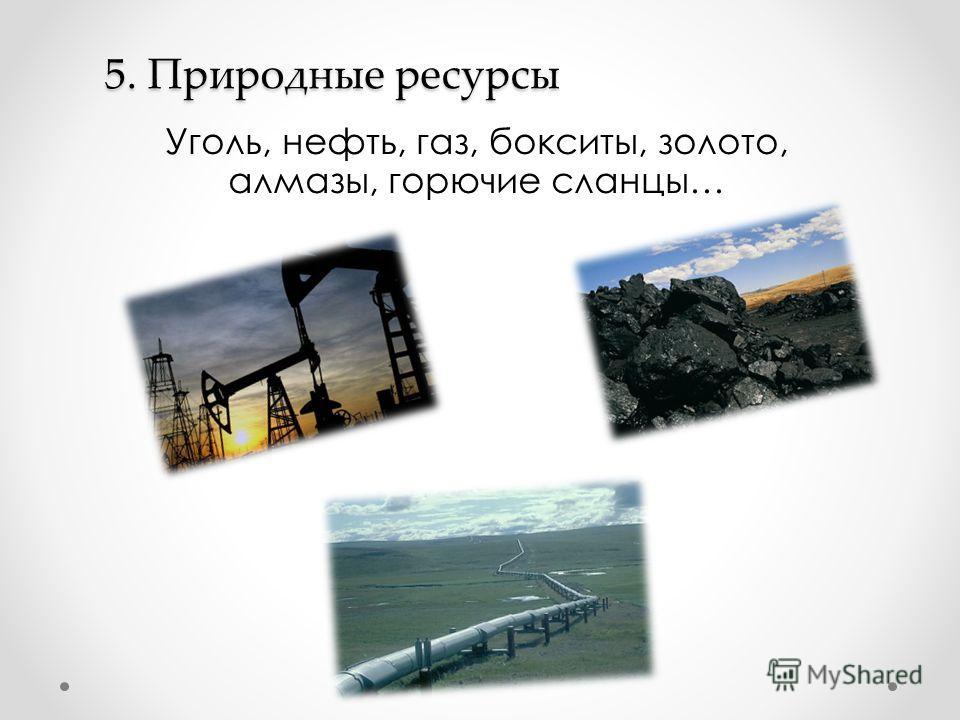 5. Природные ресурсы Уголь, нефть, газ, бокситы, золото, алмазы, горючие сланцы…
