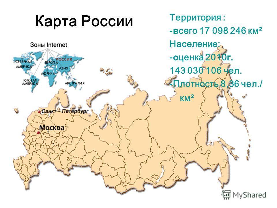 Карта России Территория : -всего 17 098 246 км² Население: -оценка 2010 г. 143 030 106 чел. -Плотность 8,36 чел./ км²