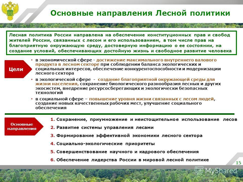 Основные направления Лесной политики 15 Лесная политика России направлена на обеспечение конституционных прав и свобод жителей России, связанных с лесом и его использованием, в том числе прав на благоприятную окружающую среду, достоверную информацию