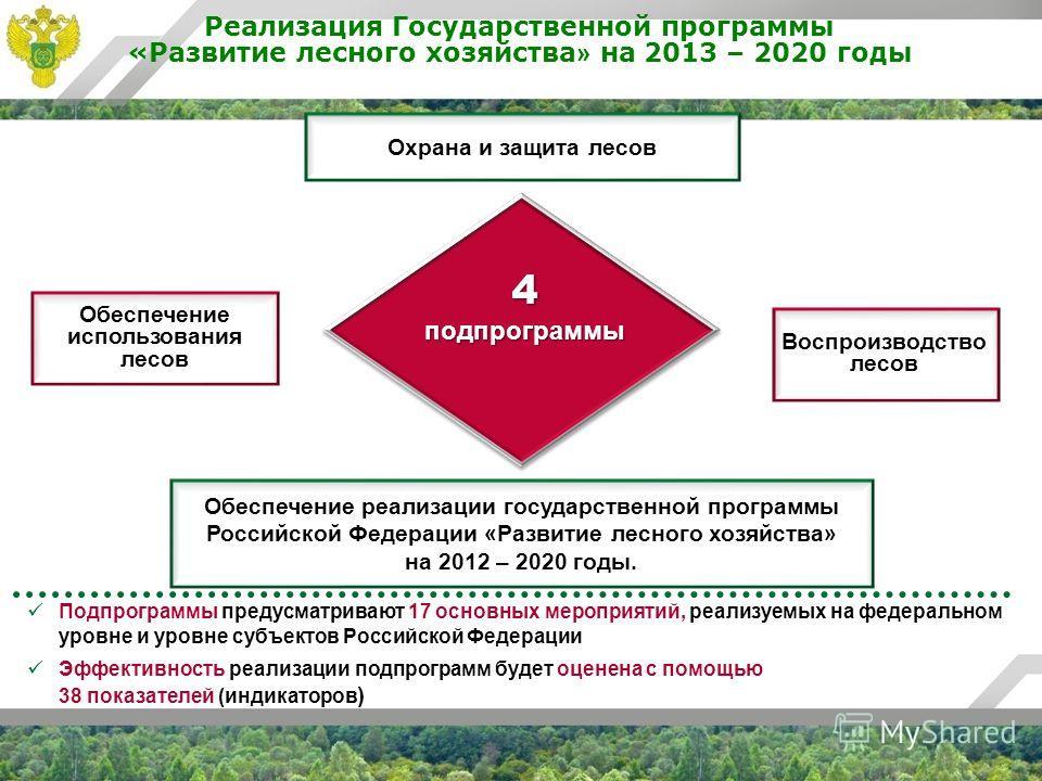 Реализация Государственной программы «Развитие лесного хозяйства » на 2013 – 2020 годы Обеспечение использования лесов Воспроизводство лесов Обеспечение реализации государственной программы Российской Федерации «Развитие лесного хозяйства» на 2012 –