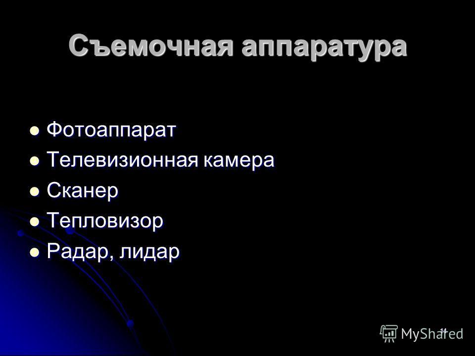 14 Съемочная аппаратура Фотоаппарат Фотоаппарат Телевизионная камера Телевизионная камера Сканер Сканер Тепловизор Тепловизор Радар, лидар Радар, лидар