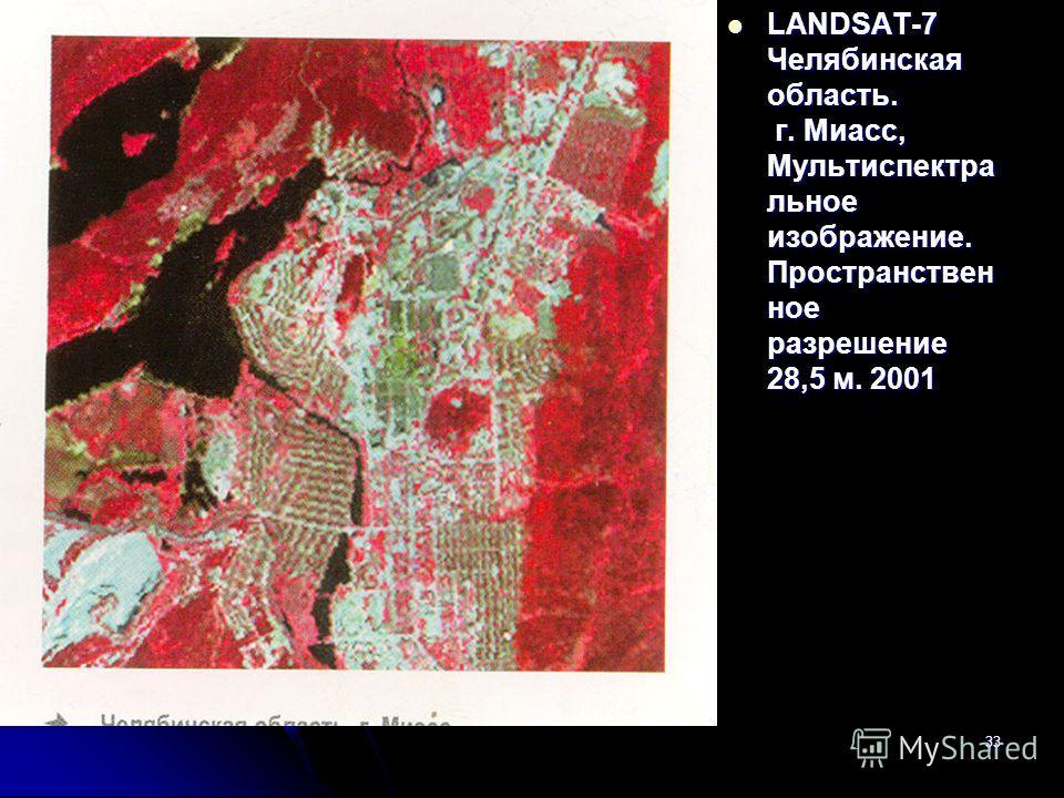 33 LANDSAT-7 Челябинская область. г. Миасс, Мультиспектра льное изображение. Пространствен ное разрешение 28,5 м. 2001 LANDSAT-7 Челябинская область. г. Миасс, Мультиспектра льное изображение. Пространствен ное разрешение 28,5 м. 2001