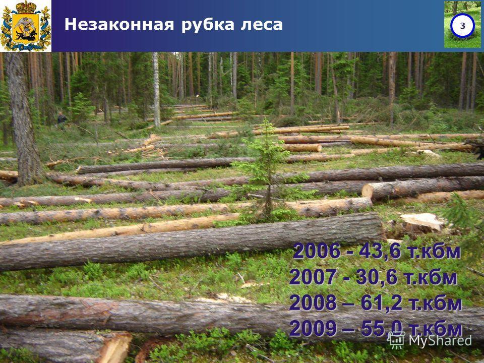 3 Незаконная рубка леса 2006 - 43,6 т.кбм 2007 - 30,6 т.кбм 2008 – 61,2 т.кбм 2009 – 55,0 т.кбм