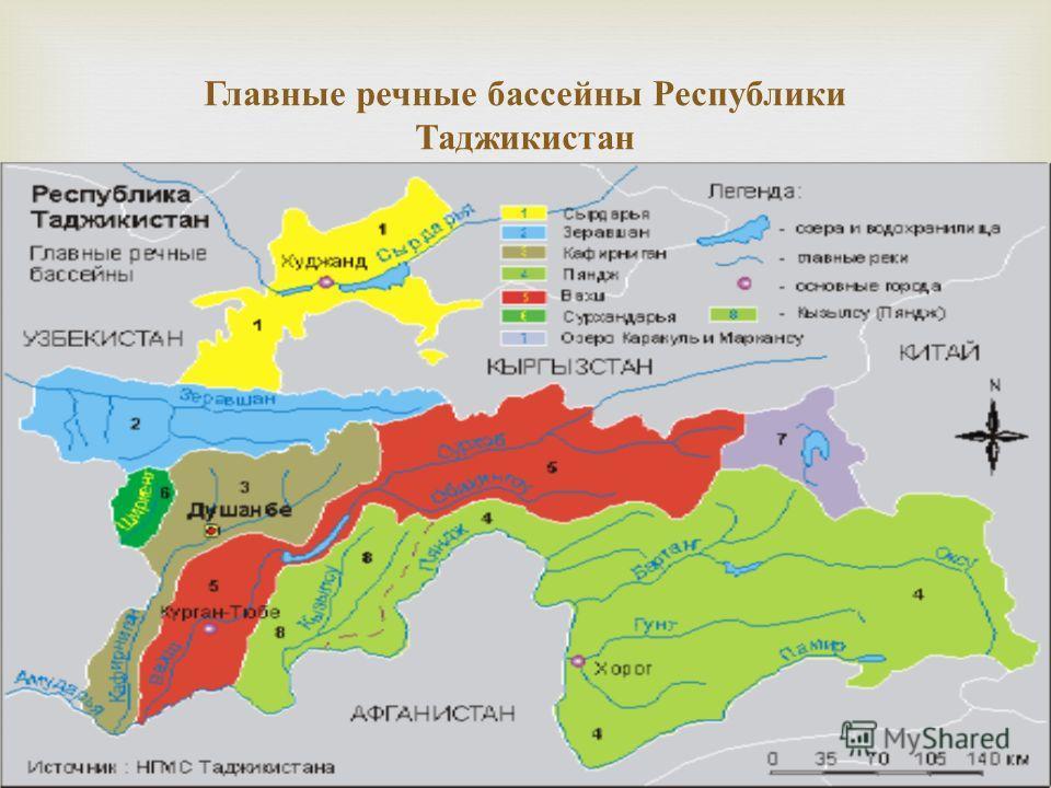 Главные речные бассейны Республики Таджикистан