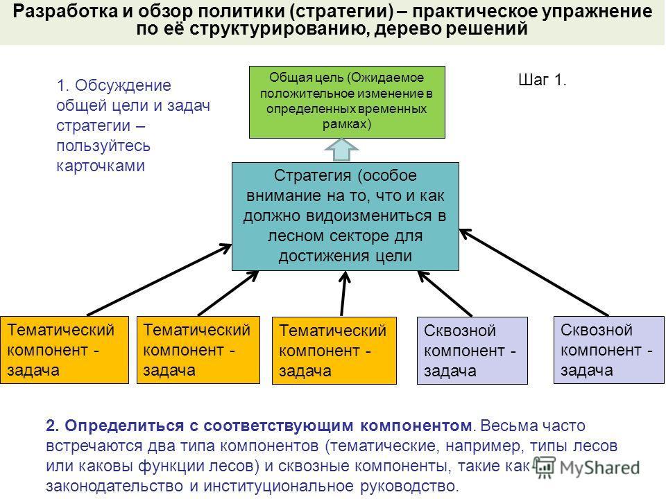 Общая цель (Ожидаемое положительное изменение в определенных временных рамках) Разработка и обзор политики (стратегии) – практическое упражнение по её структурированию, дерево решений Стратегия (особое внимание на то, что и как должно видоизмениться