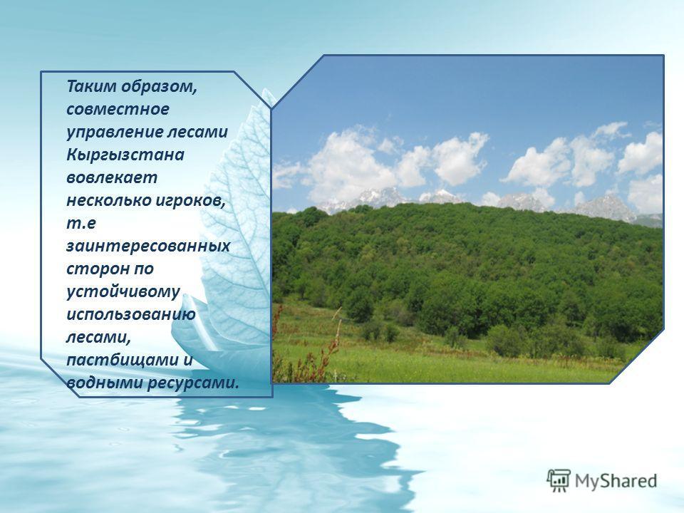 Таким образом, совместное управление лесами Кыргызстана вовлекает несколько игроков, т.е заинтересованных сторон по устойчивому использованию лесами, пастбищами и водными ресурсами.
