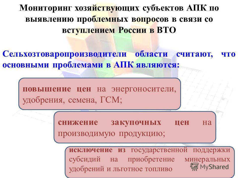 Мониторинг хозяйствующих субъектов АПК по выявлению проблемных вопросов в связи со вступлением России в ВТО Сельхозтоваропроизводители области считают, что основными проблемами в АПК являются: повышение цен на энергоносители, удобрения, семена, ГСМ;