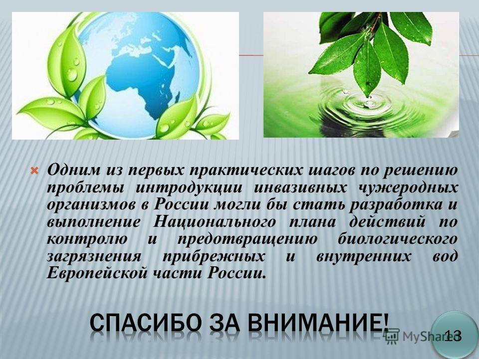 Одним из первых практических шагов по решению проблемы интродукции инвазивных чужеродных организмов в России могли бы стать разработка и выполнение Национального плана действий по контролю и предотвращению биологического загрязнения прибрежных и внут