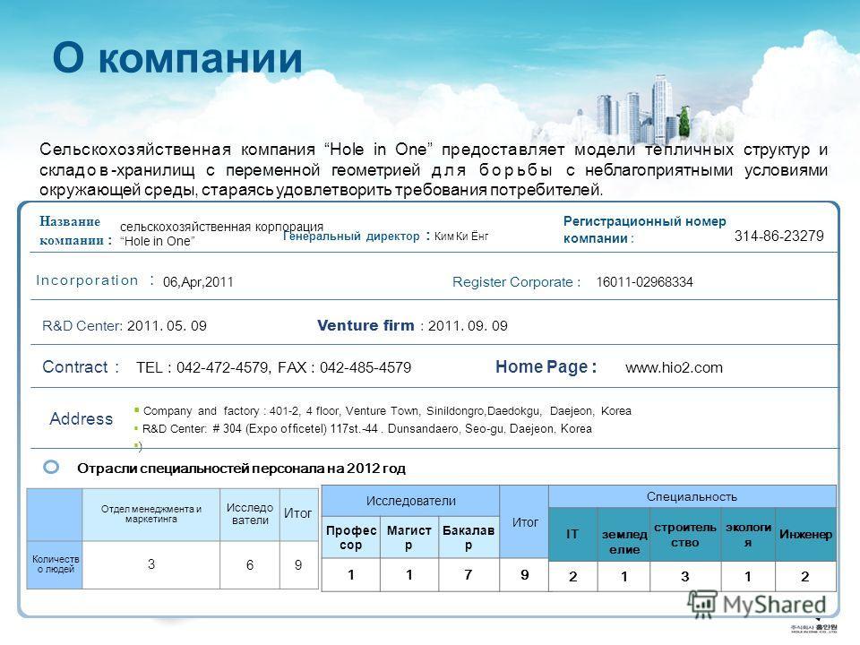 О компании Отрасли специальностей персонала на 2012 год Название компании : Генеральный директор : Ким Ки Ёнг Регистрационный номер компании : Company and factory : 401-2, 4 floor, Venture Town, Sinildongro,Daedokgu, Daejeon, Korea R&D Center: # 304