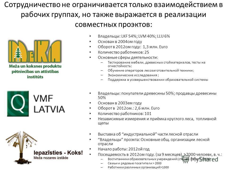 Сотрудничество не ограничивается только взаимодействием в рабочих группах, но также выражается в реализации совместных проектов: Владельцы: LKF 54%; LVM 40%; LLU 6% Основан в 2004 ом году Оборот в 2012 ом году: 1,3 млн. Euro Количество работников: 25