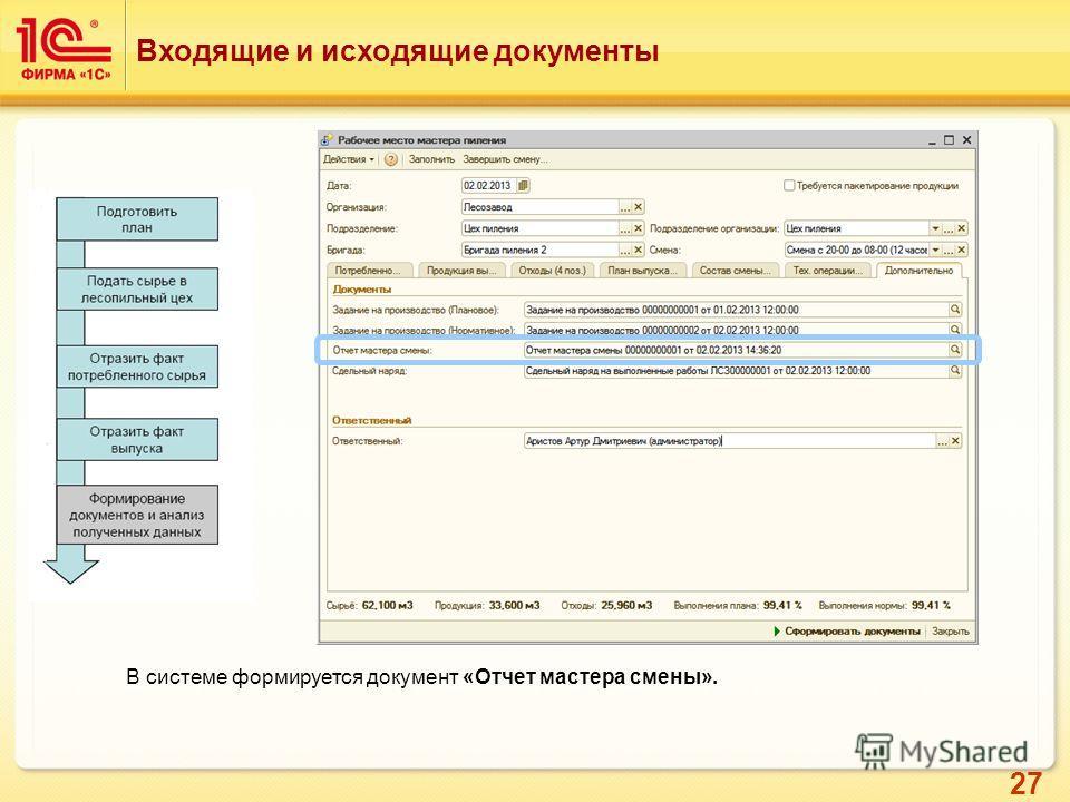 27 Входящие и исходящие документы В системе формируется документ «Отчет мастера смены».