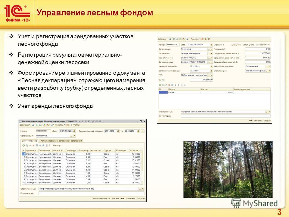 3 Управление лесным фондом Учет и регистрация арендованных участков лесного фонда Регистрация результатов материально- денежной оценки лесосеки Формирование регламентированного документа «Лесная декларация», отражающего намерения вести разработку (ру