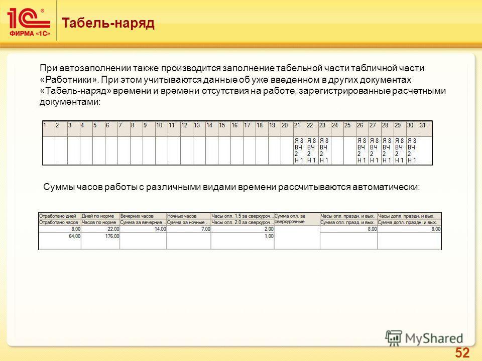 52 Табель-наряд При автозаполнении также производится заполнение табельной части табличной части «Работники». При этом учитываются данные об уже введенном в других документах «Табель-наряд» времени и времени отсутствия на работе, зарегистрированные р