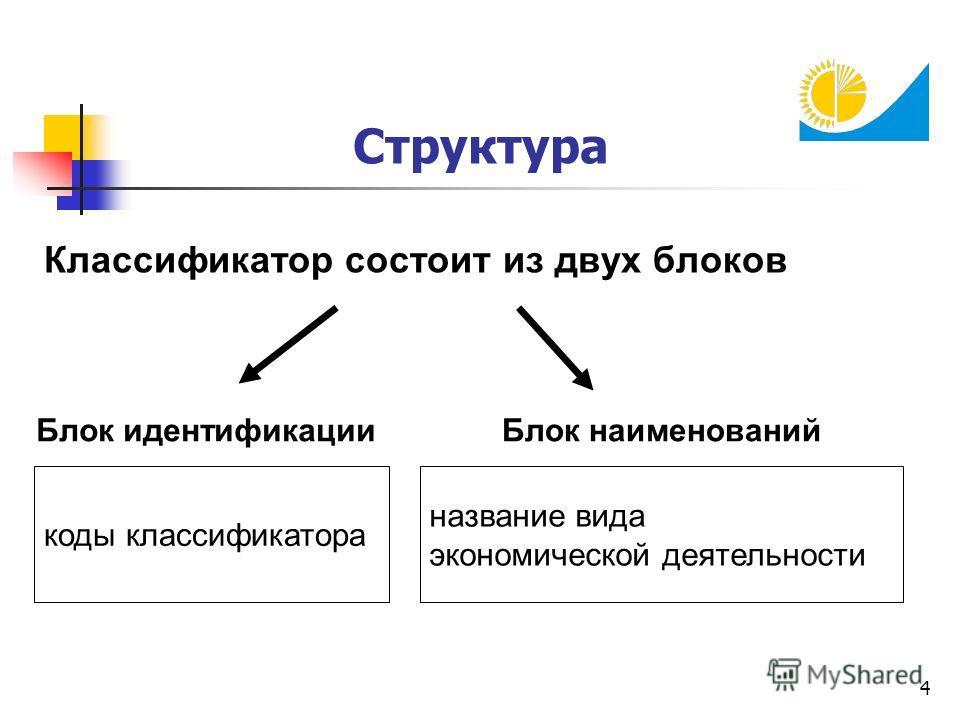4 Структура Классификатор состоит из двух блоков коды классификатора название вида экономической деятельности Блок идентификации Блок наименований