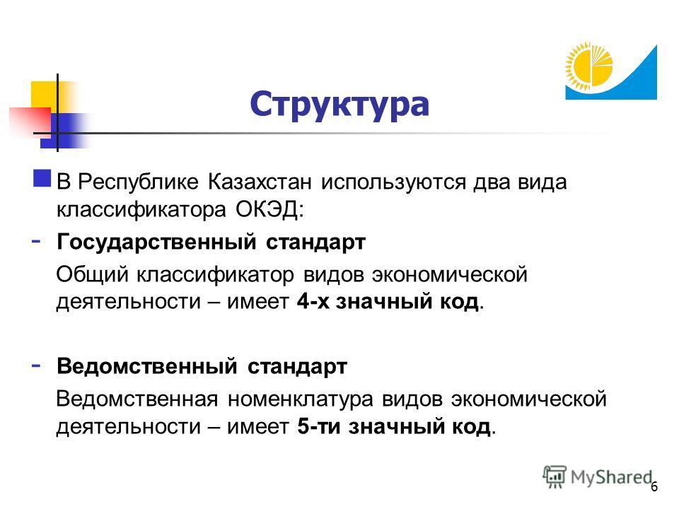 6 Структура В Республике Казахстан используются два вида классификатора ОКЭД: - Государственный стандарт Общий классификатор видов экономической деятельности – имеет 4-х значный код. - Ведомственный стандарт Ведомственная номенклатура видов экономиче