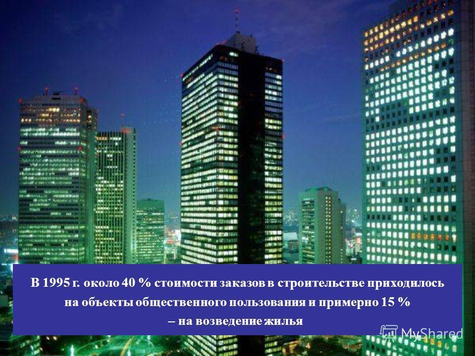 В 1995 г. около 40 % стоимости заказов в строительстве приходилось на объекты общественного пользования и примерно 15 % – на возведение жилья