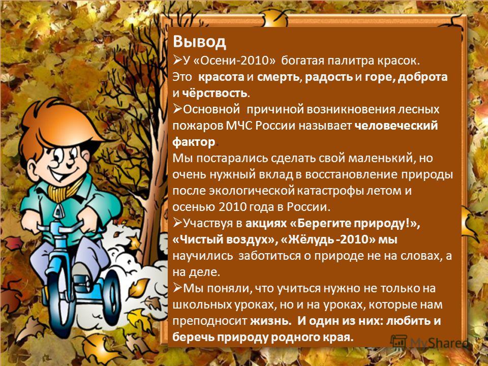 Вывод У «Осени-2010» богатая палитра красок. Это красота и смерть, радость и горе, доброта и чёрствость. Основной причиной возникновения лесных пожаров МЧС России называет человеческий фактор. Мы постарались сделать свой маленький, но очень нужный вк