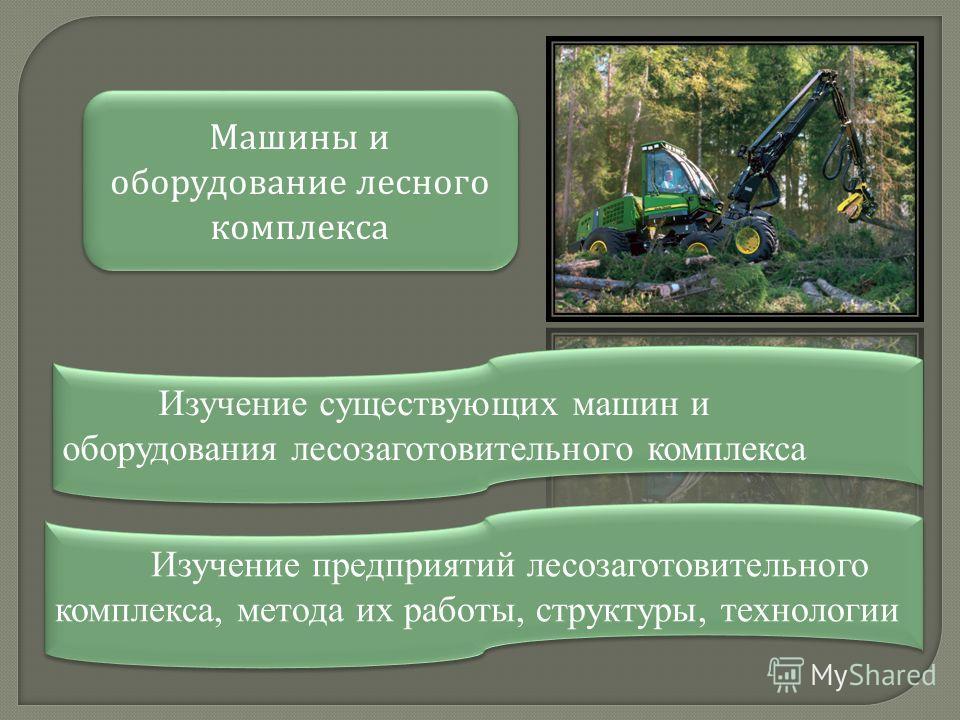 Машины и оборудование лесного комплекса Изучение предприятий лесозаготовительного комплекса, метода их работы, структуры, технологии Изучение существующих машин и оборудования лесозаготовительного комплекса