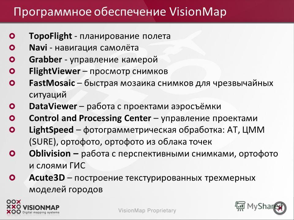 TopoFlight - планирование полета Navi - навигация самолёта Grabber - управление камерой FlightViewer – просмотр снимков FastMosaic – быстрая мозаика снимков для чрезвычайных ситуаций DataViewer – работа с проектами аэросъёмки Control and Processing C