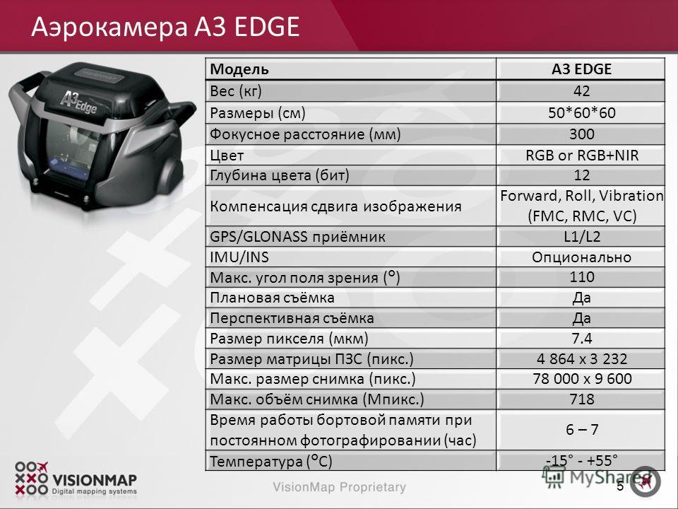 Аэрокамера A3 EDGE 5 A3 EDGEМодель 42Вес (кг) 50*60*60Размеры (см) 300Фокусное расстояние (мм) RGB or RGB+NIRЦвет 12Глубина цвета (бит) Forward, Roll, Vibration (FMC, RMC, VC) Компенсация сдвига изображения L1/L2GPS/GLONASS приёмник ОпциональноIMU/IN