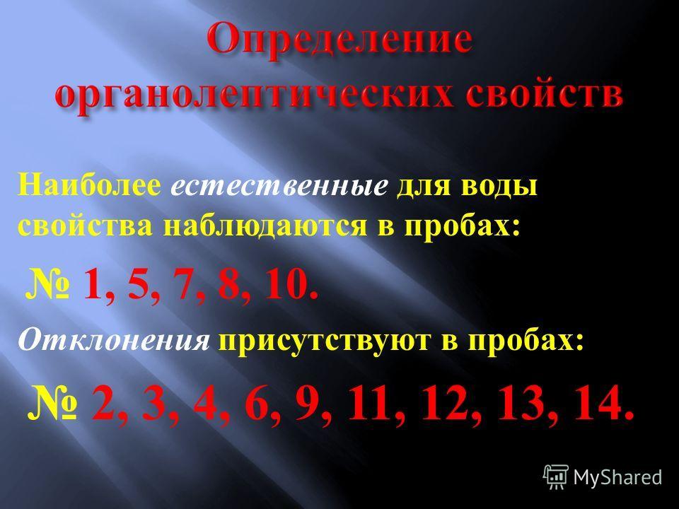 Наиболее естественные для воды свойства наблюдаются в пробах : 1, 5, 7, 8, 10. Отклонения присутствуют в пробах : 2, 3, 4, 6, 9, 11, 12, 13, 14.