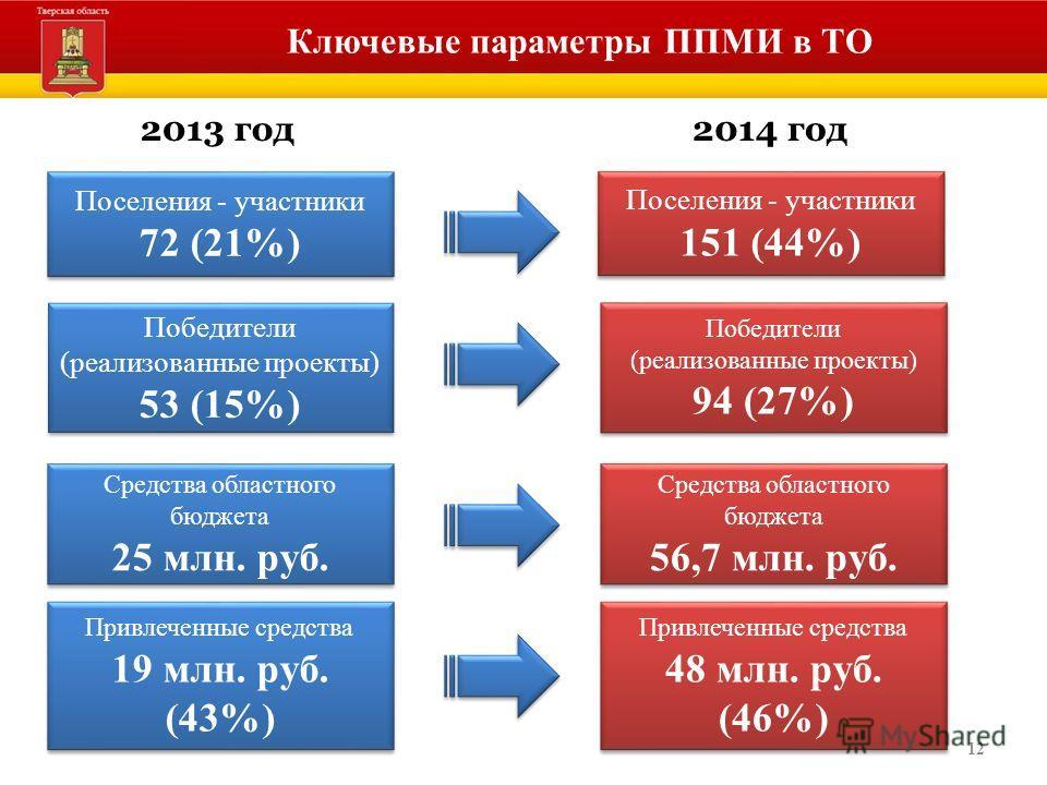 12 Ключевые параметры ППМИ в ТО Средства областного бюджета 25 млн. руб. Средства областного бюджета 25 млн. руб. Победители (реализованные проекты) 53 (15%) Победители (реализованные проекты) 53 (15%) Победители (реализованные проекты) 94 (27%) Побе