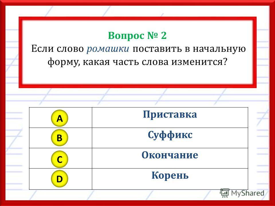 Вопрос 2 Если слово ромашки поставить в начальную форму, какая часть слова изменится? Приставка Суффикс Окончание Корень A B C D