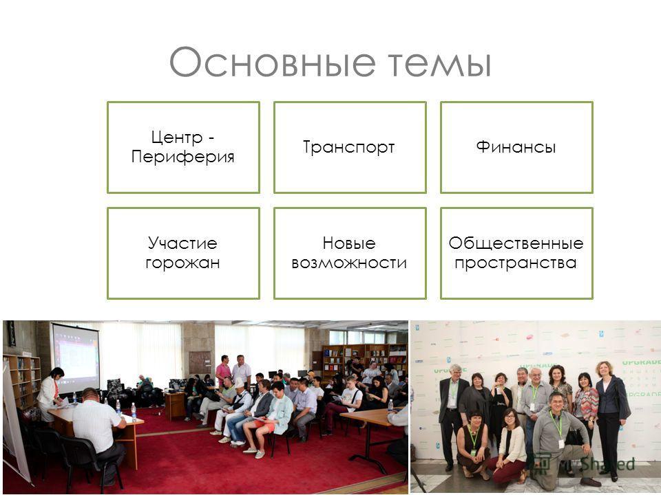 Основные темы Центр - Периферия Транспорт Финансы Участие горожан Новые возможности Общественные пространства