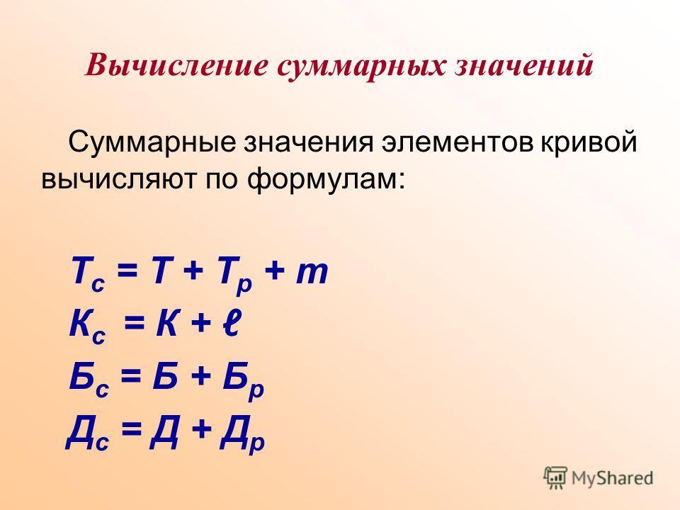 Вычисление суммарных значений Суммарные значения элементов кривой вычисляют по формулам: Т с = Т + Т р + m К с = К + Б с = Б + Б р Д с = Д + Д р