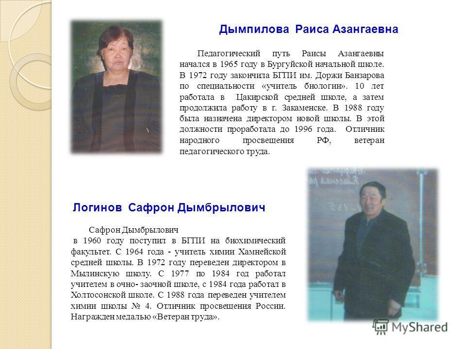 Педагогический путь Раисы Азангаевны начался в 1965 году в Бургуйской начальной школе. В 1972 году закончила БГПИ им. Доржи Банзарова по специальности «учитель биологии». 10 лет работала в Цакирской средней школе, а затем продолжила работу в г. Закам