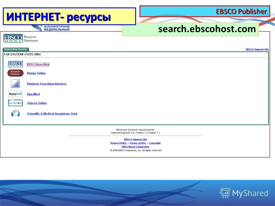 search.ebscohost.com ИНТЕРНЕТ- ресурсы EBSCO Publisher