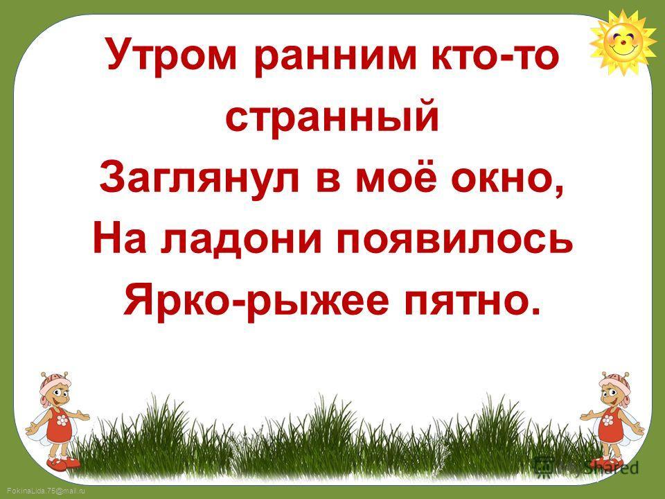 FokinaLida.75@mail.ru Утром ранним кто-то странный Заглянул в моё окно, На ладони появилось Ярко-рыжее пятно.