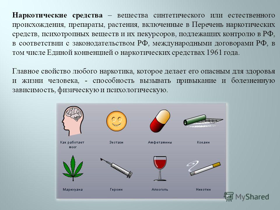 Наркотические средства – вещества синтетического или естественного происхождения, препараты, растения, включенные в Перечень наркотических средств, психотропных веществ и их пекурсоров, подлежащих контролю в РФ, в соответствии с законодательством РФ,