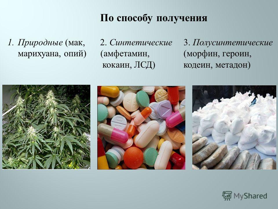 1. Природные ( мак, марихуана, опий ) 2. Синтетические ( амфетамин, кокаин, ЛСД ) 3. Полусинтетические ( морфин, героин, кодеин, метадон ) По способу получения