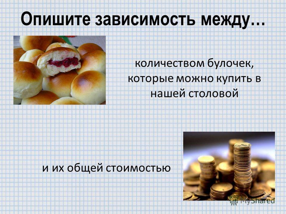 Опишите зависимость между… количеством булочек, которые можно купить в нашей столовой и их общей стоимостью