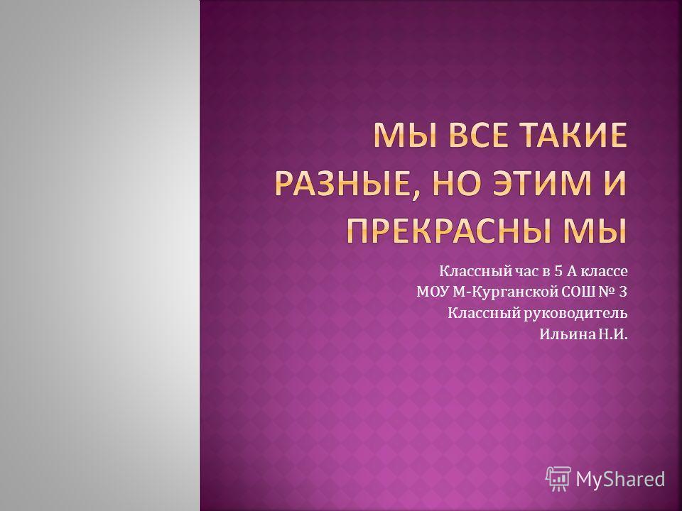 Классный час в 5 А классе МОУ М-Курганской СОШ 3 Классный руководитель Ильина Н.И.