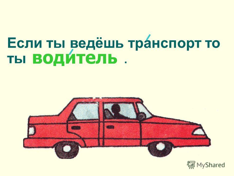 Если ты ведёшь транспорт то ты. водитель