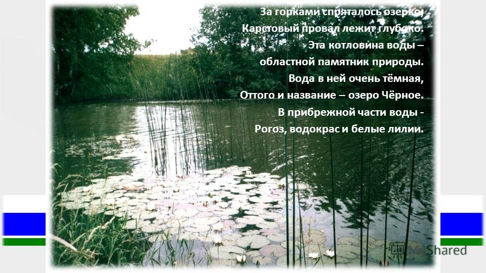 За горками спряталось озерко, Карстовый провал лежит глубоко. Эта котловина воды – областной памятник природы. Вода в ней очень тёмная, Оттого и название – озеро Чёрное. В прибрежной части воды - Рогоз, водокрас и белые лилии.
