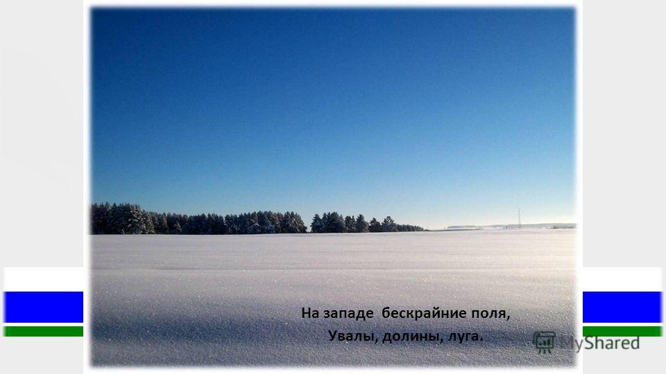 На западе бескрайние поля, Увалы, долины, луга.