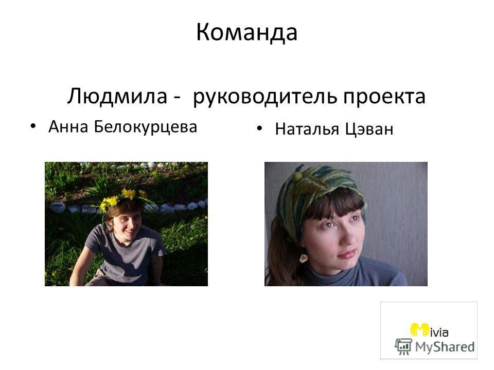 Команда Людмила - руководитель проекта Анна Белокурцева Наталья Цэван