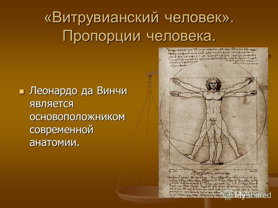 «Витрувианский человек». Пропорции человека. Леонардо да Винчи является основоположником современной анатомии.