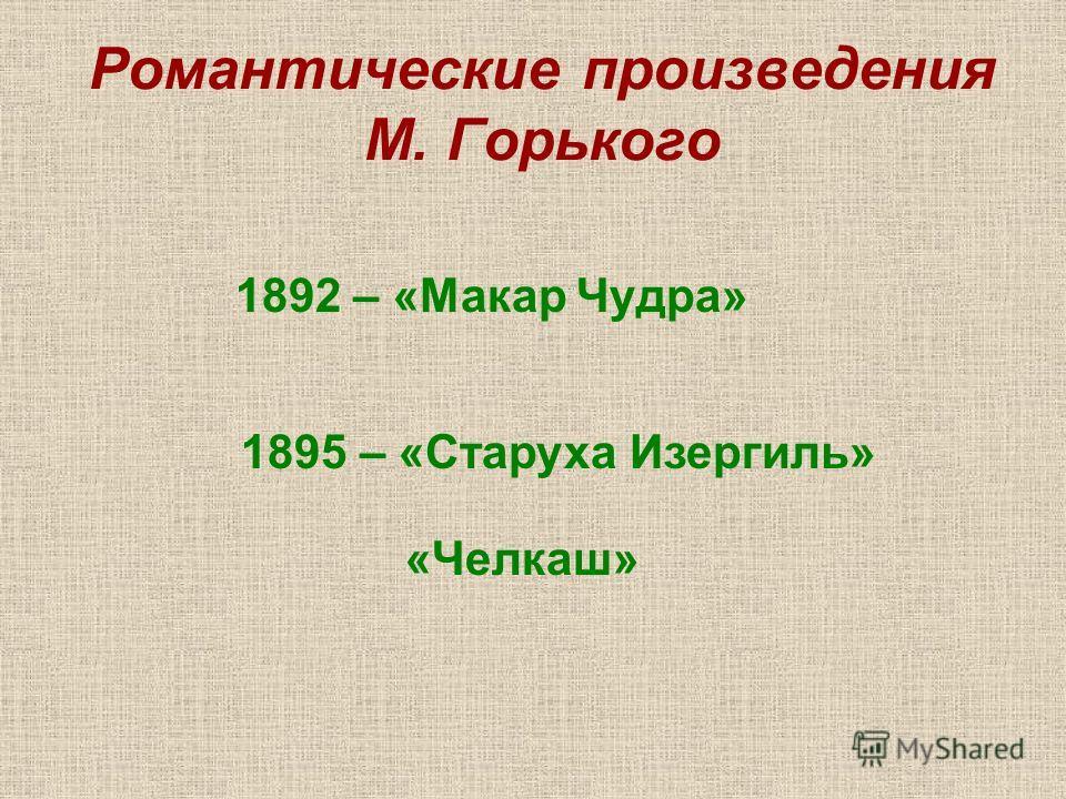 Романтические произведения М. Горького 1892 – «Макар Чудра» 1895 – «Старуха Изергиль» «Челкаш»