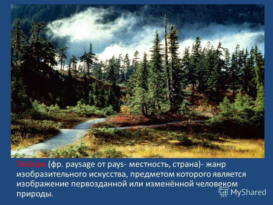 Пейзаж (фр. paysage от pays- местность, страна)- жанр изобразительного искусства, предметом которого является изображение первозданной или изменённой человеком природы.