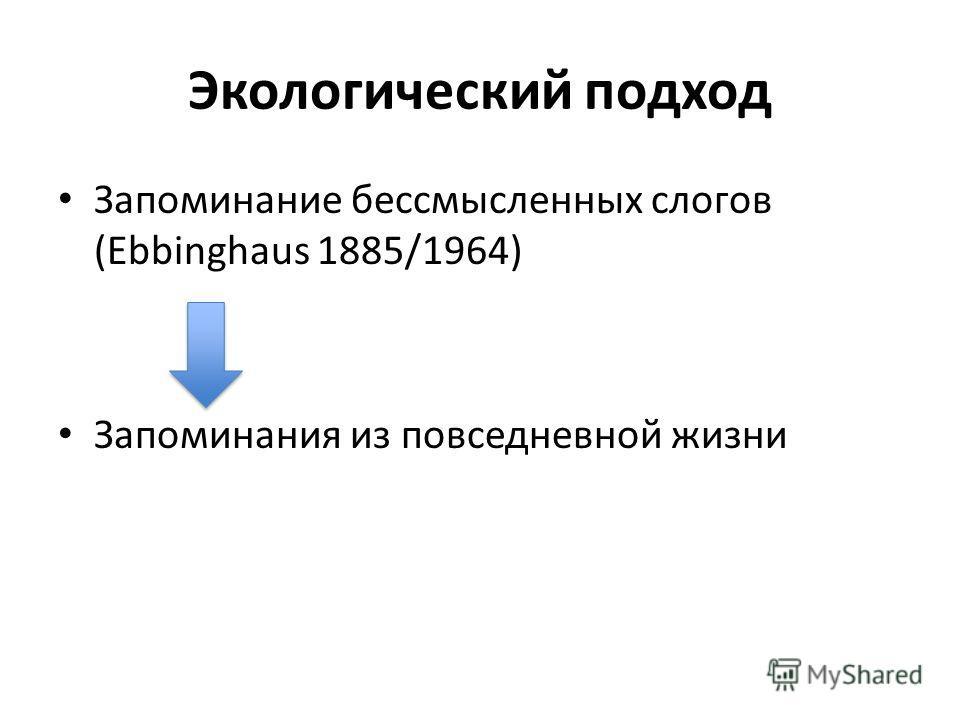 Экологический подход Запоминание бессмысленных слогов (Ebbinghaus 1885/1964) Запоминания из повседневной жизни