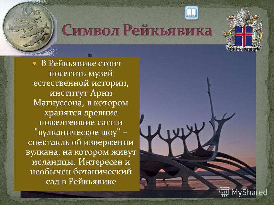 В Рейкьявике стоит посетить музей естественной истории, институт Арни Магнуссона, в котором хранятся древние пожелтевшие саги и